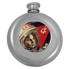 Soviet Union In Space Hip Flask (Round)