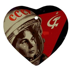 Soviet Union In Space Heart Ornament (Two Sides)