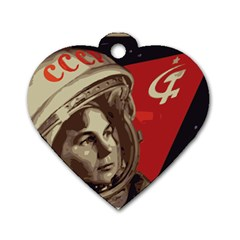 Soviet Union In Space Dog Tag Heart (Two Sided)
