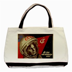 Soviet Union In Space Twin Sided Black Tote Bag