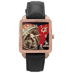 Soviet Union In Space Rose Gold Leather Watch