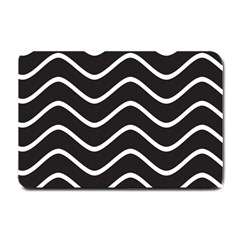 Black and White Wave Pattern Small Door Mat