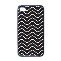 Black And White Wave Pattern Apple Iphone 4 Case (black)