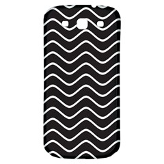 Black and White Wave Pattern Samsung Galaxy S3 S III Classic Hardshell Back Case
