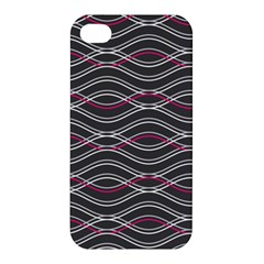 Black And Pink Waves Pattern Apple iPhone 4/4S Hardshell Case