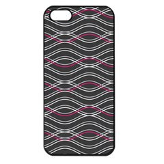 Black And Pink Waves Pattern Apple Iphone 5 Seamless Case (black)