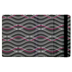 Black And Pink Waves Pattern Apple iPad 3/4 Flip Case