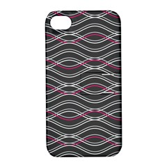 Black And Pink Waves Pattern Apple iPhone 4/4S Hardshell Case with Stand