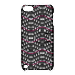 Black And Pink Waves Pattern Apple iPod Touch 5 Hardshell Case with Stand