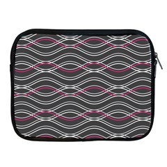 Black And Pink Waves Pattern Apple iPad 2/3/4 Zipper Case