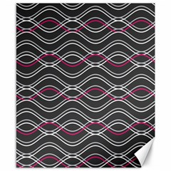 Black And Pink Waves Pattern Canvas 8  x 10  (Unframed)