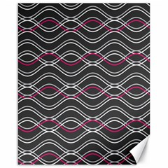 Black And Pink Waves Pattern Canvas 16  x 20  (Unframed)