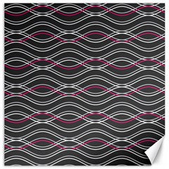 Black And Pink Waves Pattern Canvas 20  X 20  (unframed)
