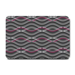 Black And Pink Waves Pattern Small Door Mat