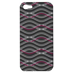 Black And Pink Waves Pattern Apple Iphone 5 Hardshell Case