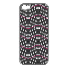 Black And Pink Waves Pattern Apple iPhone 5 Case (Silver)