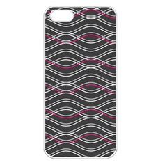 Black And Pink Waves Pattern Apple Iphone 5 Seamless Case (white)