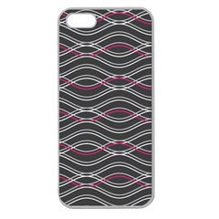 Black And Pink Waves Pattern Apple Seamless iPhone 5 Case (Clear)