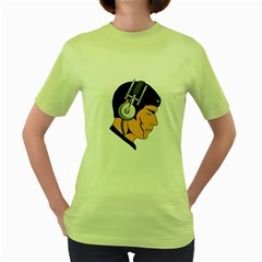 Space Beats Womens  T Shirt (green)