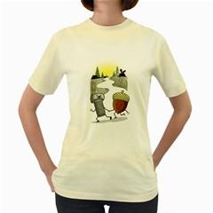 Odd Pair  Womens  T-shirt (Yellow)