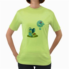 Never press the big red button Womens  T-shirt (Green)