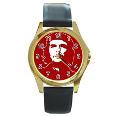 Chce Guevara, Che Chick Round Metal Watch (gold Rim)