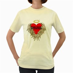 Daddy Watching Over  Womens  T Shirt (yellow)