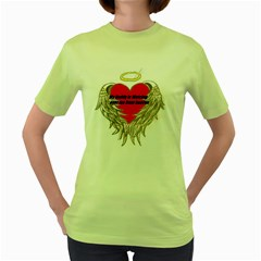 Daddy Watching Over Womens  T Shirt (green)