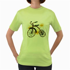 Tree Cycle Womens  T Shirt (green)