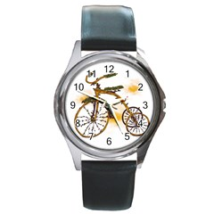 Tree Cycle Round Metal Watch (Silver Rim)