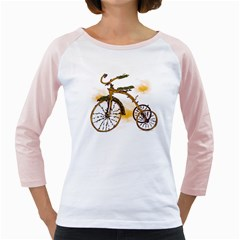 Tree Cycle Womens  Long Sleeve Raglan T Shirt (white)