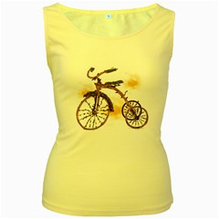 Tree Cycle Womens  Tank Top (yellow)