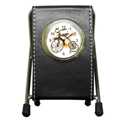 Tree Cycle Stationery Holder Clock