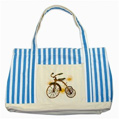 Tree Cycle Blue Striped Tote Bag