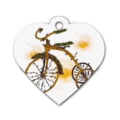 Tree Cycle Dog Tag Heart (one Sided)