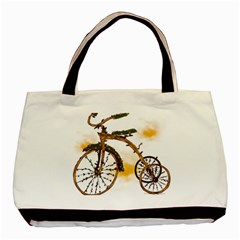 Tree Cycle Twin-sided Black Tote Bag