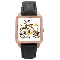 Tree Cycle Rose Gold Leather Watch