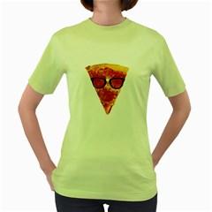 Geeks Pizza Womens  T-shirt (Green)