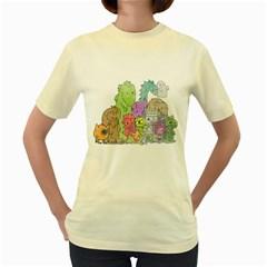 Winking Monsters  Womens  T-shirt (Yellow)