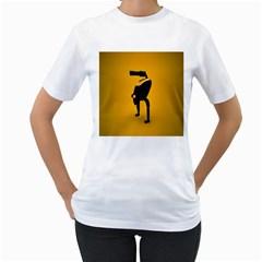 Moustache Smiley Womens  T Shirt (white)
