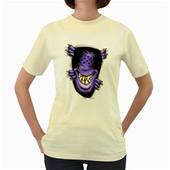 Hello - I m purple  Womens  T-shirt (Yellow)