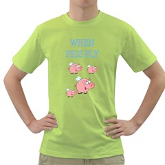 When Pigs Fly Mens  T Shirt (green)