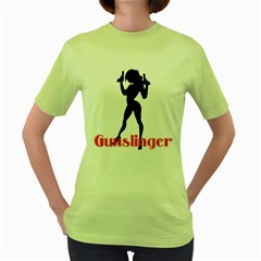 Gunslinger Womens  T-shirt (Green)