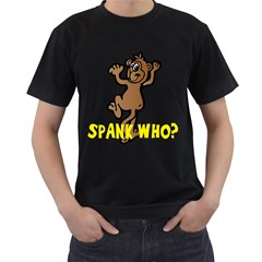Spank Who? Mens' Two Sided T-shirt (Black)