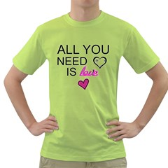 AN ODE TO THE BEATLES - ALL YOU NEED IS LOVE Mens  T-shirt (Green)