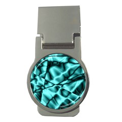 Teal Pattern Money Clip (round)