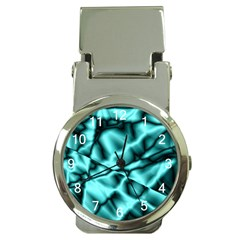 Teal Pattern Money Clip With Watch