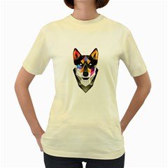 WOLF  Womens  T-shirt (Yellow)