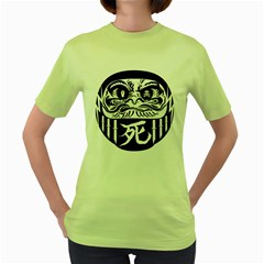 Dark Daruma Womens  T-shirt (Green)