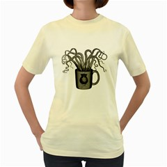 A Cup of Octopus  Womens  T-shirt (Yellow)